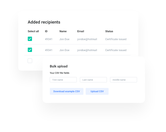 myCert - Add your receipients