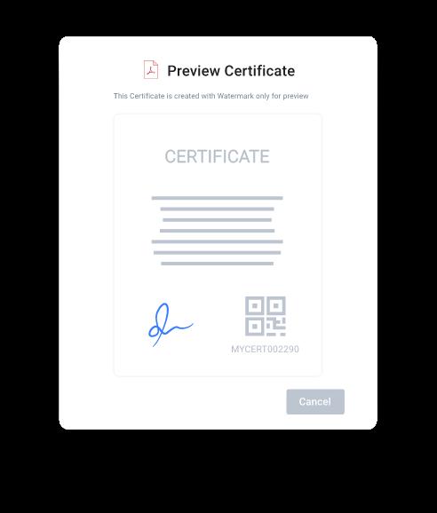 myCert - Preview the original certificate