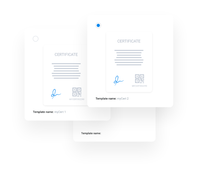 myCert - Save unlimited templates